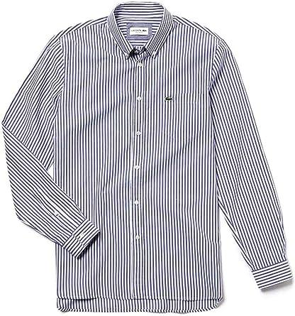 Lacoste Camisa Rayas Azul Hombre 46 Azul: Amazon.es: Ropa y accesorios