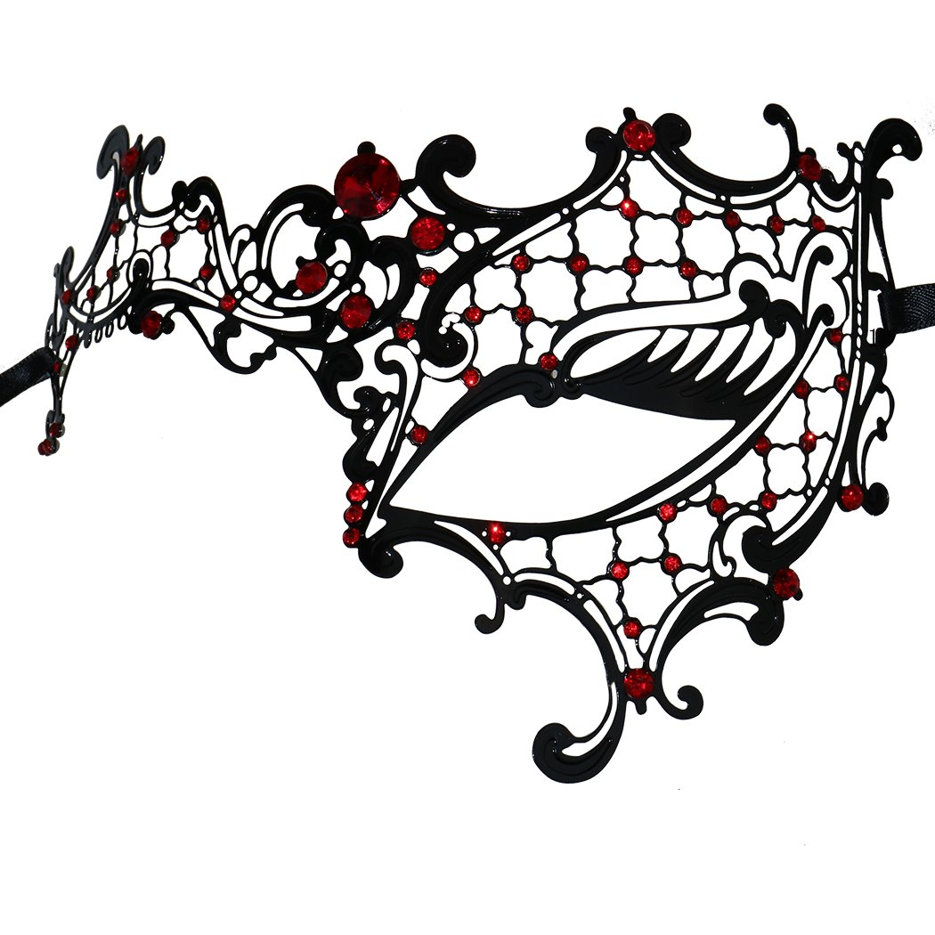Coddsmz Luxury Mysterious Half Face Mask Masquerade Halloween Mardi Gras Mask (Black-Red)