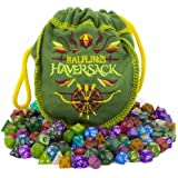 Wiz Dice Halfling's Haversack - 140 Mini Polyhedral Dice, 20 Colors in Complete Sets of 7, Miniature 10mm Pocket Size is Portable and Great for Travel