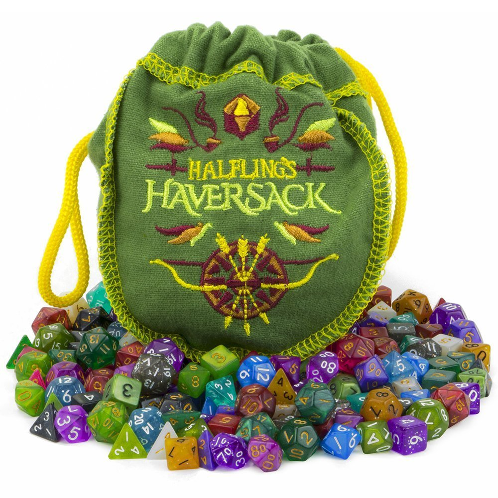 Wiz Dice Halfling's Haversack - 140 Mini Polyhedral Dice, 20 Colors in Complete Sets of 7, Miniature 10mm Pocket Size is Portable and Great for Travel by Wiz Dice