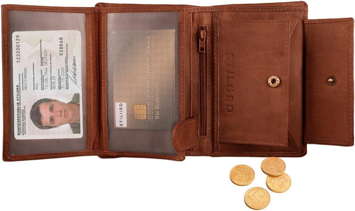 Couleur:Cognac Marron STILORD Logan Portefeuille Cuir Lisse V/éritable Porte-Monnaie Vintage Porte-Billets Bourse Format Vertical
