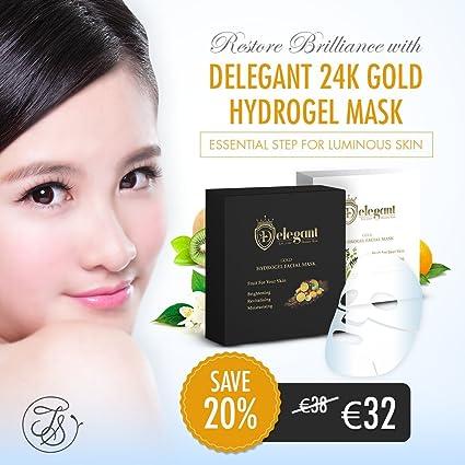 Delegant Fruta para su piel Máscara facial de hidrogel de oro 24K (paquete de 5
