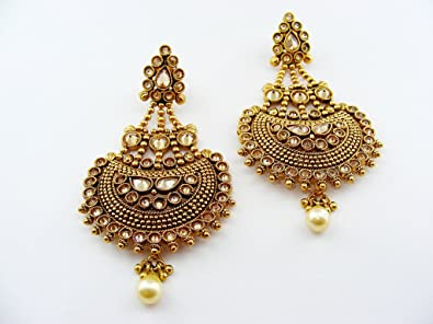 f46ec5d0bd7 Amazon.com: Kumar Jewels Women's Long Traditional Polki Golden Balls ...