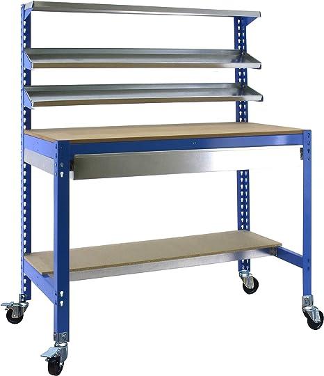 Banco de trabajo con ruedas y cajón BT1 Azul/Madera Simonrack 1560x1210x610 mms 280 Kgs de capacidad total al llevar ruedas: Amazon.es: Bricolaje y herramientas