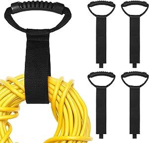 Chunm 4 Pieces Portable Extension Cord Organizer Hanging Storage Straps 2 x 22 Inch Heavy Duty Storage Straps Hook and Loop Cord Holder for Garden Hose Storage Garage Tool Organization