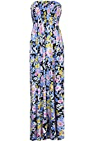 Womens Ladies Floral Rose Print Summer Sunny Gathered Bandeau Boobtube Sheering Maxi Dress Plus Size