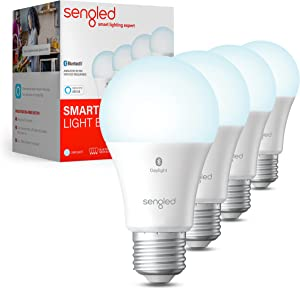 Sengled Smart Light Bulbs, Bluetooth Mesh Alexa Light Bulb, Smart Bulbs That Work with Alexa Only, Standard A19 E26 Dimmable LED Bulb Daylight 5000K, 60W Equivalent 800LM, 4 Pack