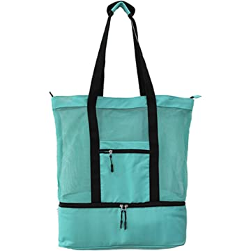 DZXZY Multifunctional Outdoor Travel Mesh Beach Tote Bag Waterproof Tote Bags for Beach Travel for women with Zipper Top and Insulated Picnic Cooler