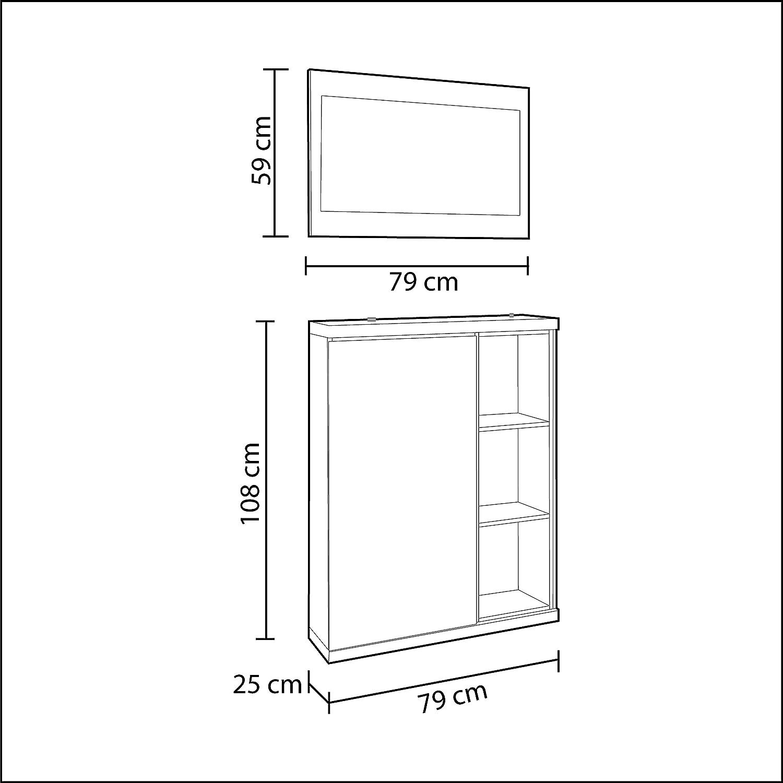 Habitdesign 0G6749BO - Recibidor zapatero + espejo, acabado ...
