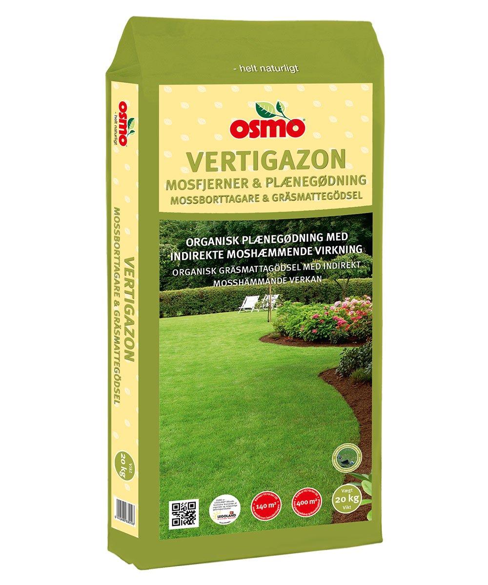 Osmo Vertigazon fertilizante de liberación lenta para césped con efecto Anti indirecta musgo 6-3-20 (DK 6-1-17) 20 kg No requiere anti musgo herbicida: ...