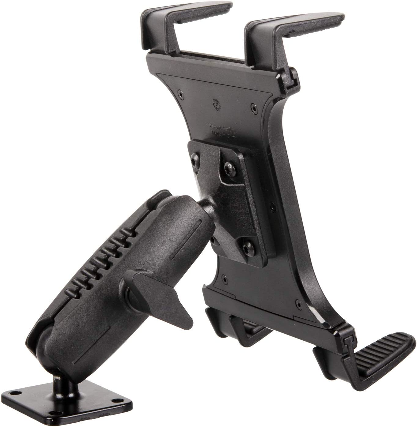 "Heavy Duty Drill Base Tablet Mount - TACKFORM [Enterprise Series] - 3.75"" iPad Holder for Wall or Truck. ELD Mount for Devices Including iPad Mini, IPad Pro 12.9, Galaxy S, Surface Pro & Switch"