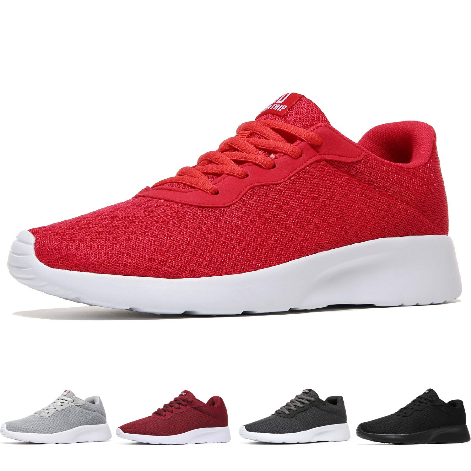 MAIITRIP Men's Running Shoes Sport Athletic Sneakers,Red/White,Size 7
