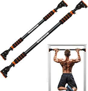 SGODDE Pull Up Bar for Doorway, Pull Up Bar Wall Mounted No Screws Door Frame Chin Up Bar, Portable Horizontal Home Workout Bar for Adjustable Width Automatic Locking Safety Exercise