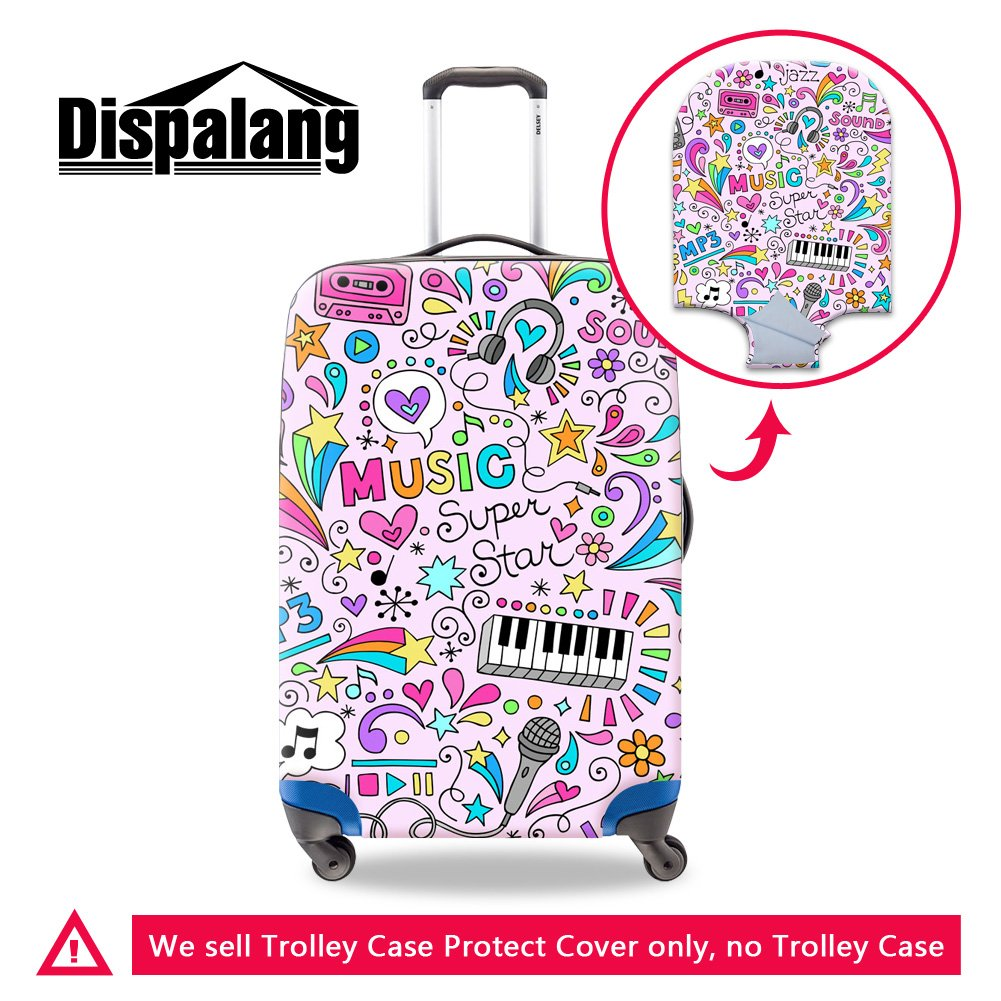 Generic Music Notes Print Elastic Luggage Cover Cool Waterproof Suitcase  Protective Covers
