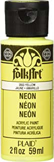 product image for FolkArt Neon Acrylic Paint in Assorted Colors (2 Ounce), 2853 Neon Yellow