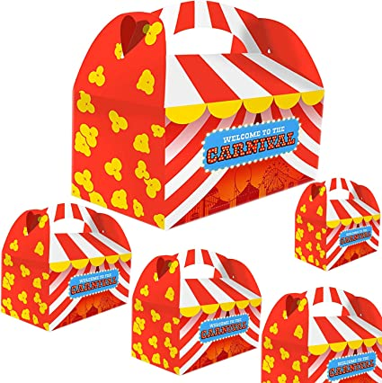 Adorox Set of 12 Carnival Treat Boxes Circus Party Goody Treat Boxes Party Favor Birthday Gifts Goodies