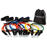 HemingWeigh Resistance Band Set with Door Anchor, Ankle Strap, Exercise Chart, and Resistance Bands Carrying Case