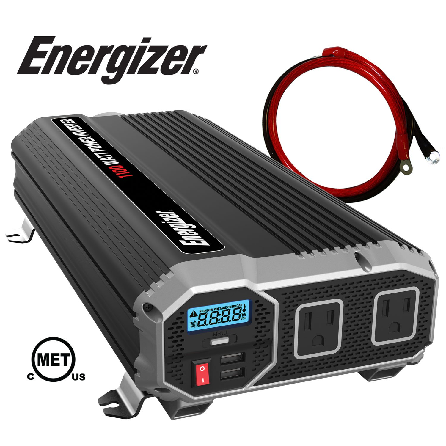 Energizer 1100 Watt 12V Power Inverter, Dual 110V AC Outlets, Automotive Back Up Power Supply Car Inverter, Converts 120 Volt AC with 2 USB Ports 2.4A Each by Energizer