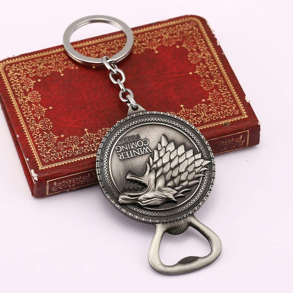 FITIONS - Game Of Bottle Opener Keychain House Stark Key Chain Winter Is Coming Ring Beer Opener Thrones Chaveiro Jewelry