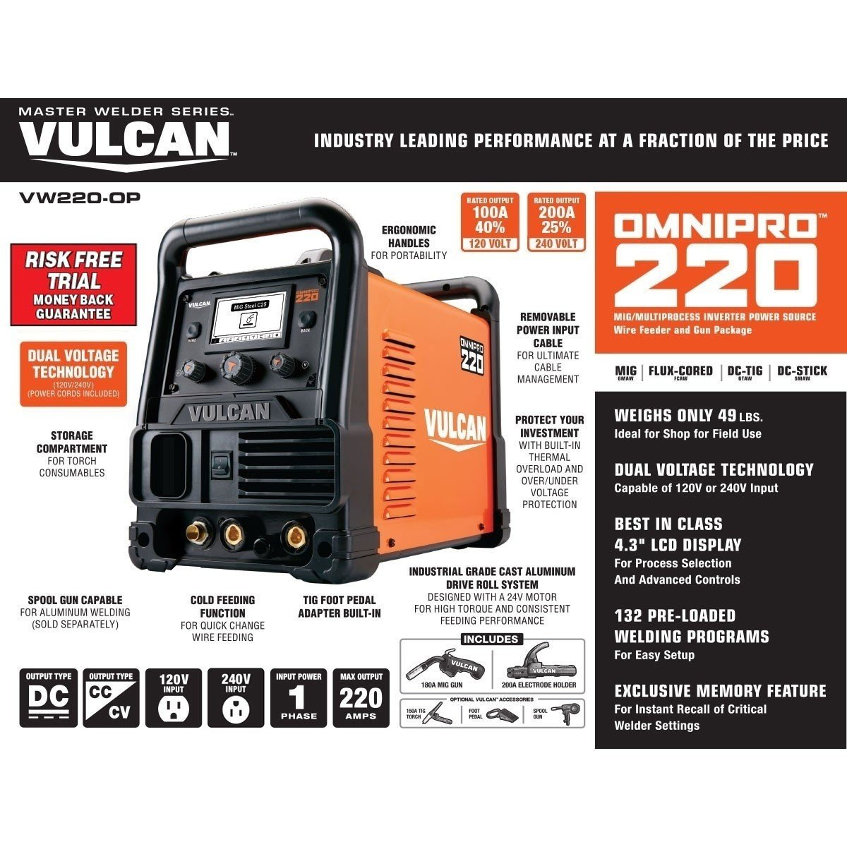Vulcan OmniPro 220 Multiprocess Welder with 120/240 Volt Input by Vulcan (Image #3)