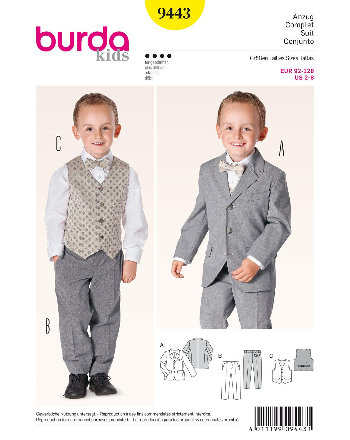Burda Children's Sewing Pattern 9443 - Trouser, Jacket & Waistcoat Suit Ages: 2-8 B9443