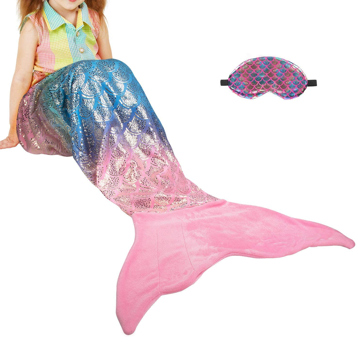 Catalonia Kids Mermaid Tail Blanket with Sleep Mask, Super Soft Plush Sleeping Snuggle Blanket for Teen Girls, Fish Scale Pattern, Gift Idea, Rainbow Ombre