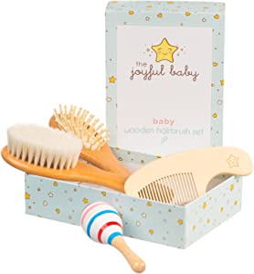 Baby Hair Brush and Comb Set - Wooden Hairbrush Kit for Grooming - Natural Soft Goat Hair Bristles for Newborn Cradle Cap - Baby Shower Gift Idea