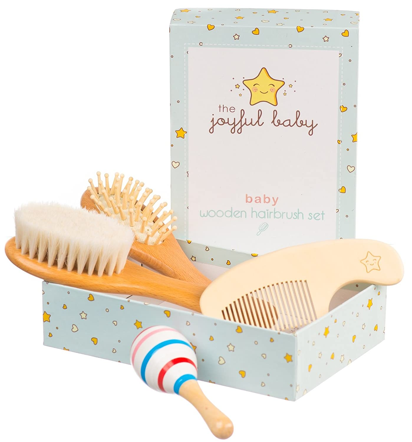 Wooden Baby Brush Set: 4-Pack Set of Natural Goat Hair Bristles Brush + Wooden Bristles Brush + Comb + Wooden Toy | For newborns and toddlers | Perfect Baby Shower Gift by The Joyful Baby
