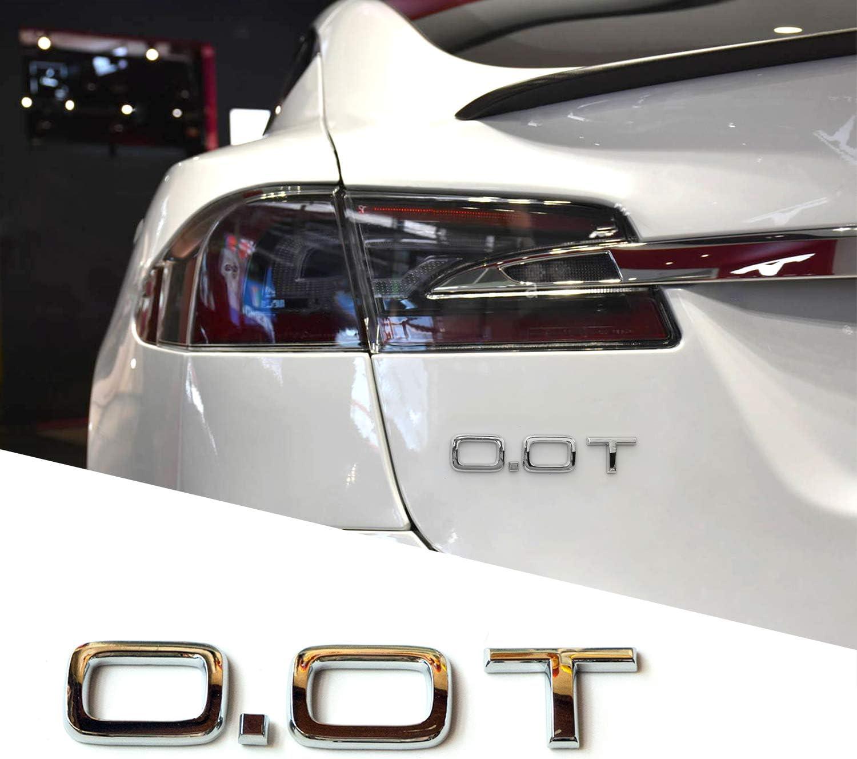 3D Letter 0.0T Car Sticker Decal for EV Tesla Electric Vehicle (Silver)