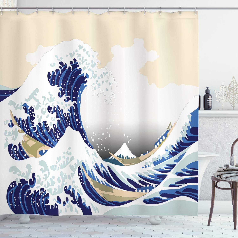 "Lunarable Wave Shower Curtain, Hokusai Pattern Japanese Ukiyoe Themed Oriental Sketch Style Ocean, Cloth Fabric Bathroom Decor Set with Hooks, 70"" Long, Navy Blue"