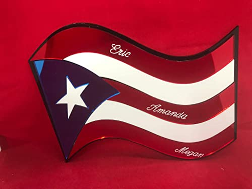 Puerto Rico Flag Wall Design Personalized Wall Hanging Mirror Sign Room Wall Decor Personalized Free Engraved Mirror PR Country Flag Wall Decoration for Your Room – with Your Name On It