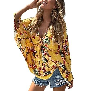 7a9f337360ba48 JOFOW Women V Neck Boho Floral Print Batwing Long Sleeve High Waist Blouse  Tops (S