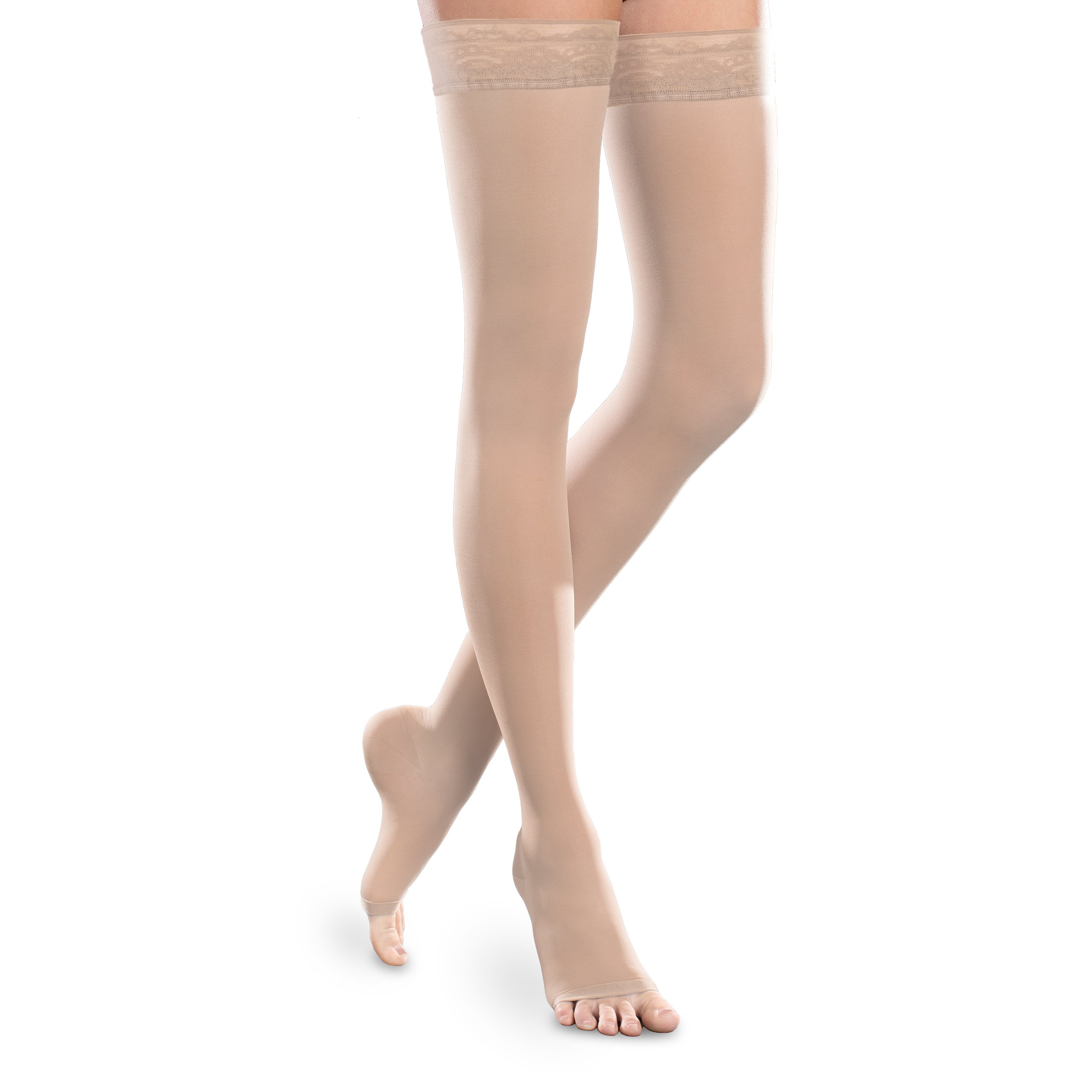 Sheer Ease Women's Open-Toe Thigh High Stockings - 20-30mmHg Moderate Compression Nylons (Natural, Small Long)
