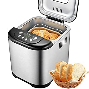Bread Maker, Aicok 2 Pound Automatic Bread machine with 15 Programs, Gluten Free Bread Maker Machine with 15 Hours Delay Time, 1 Hour Keep Warm, 3 Loaf Sizes, 3 Crust Colors, Stainless Steel