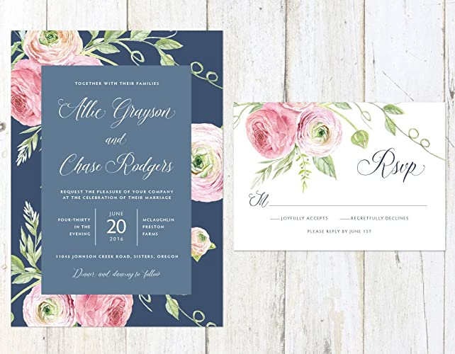 Amazoncom Navy and Blush Wedding Invitation Floral Wedding