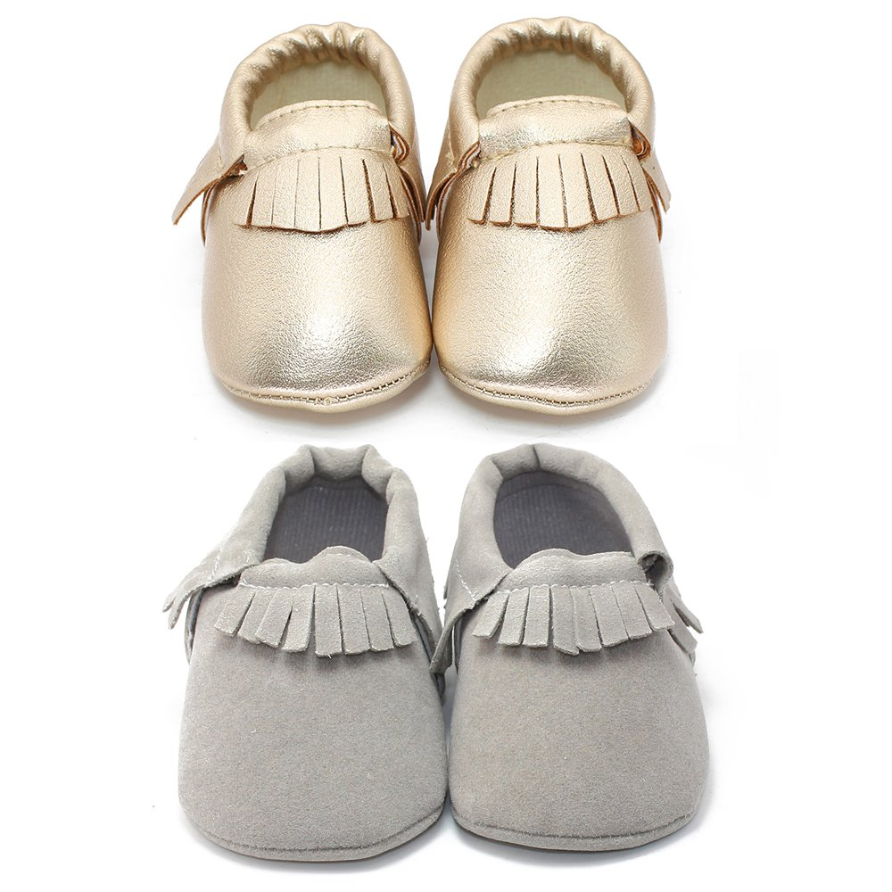 Delebao Unisex Baby Soft Sole Tassels Crib Shoes Moccasins Loafers (12-18 Months, Color D)