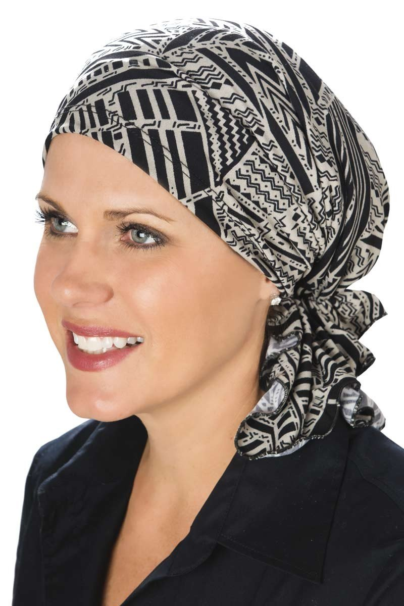 Slip-On Slinky-Caps for Women with Chemo Cancer Hair Loss Neutral Tribal by Headcovers Unlimited