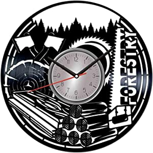 TopVinylShop Forestry Vinyl Wall Clock - Home Decor Him Her Birthday Christmas Anniversary - Themed Clock for Home Decor - Kids Living Room Kitchen Wall Art - 12 Inches
