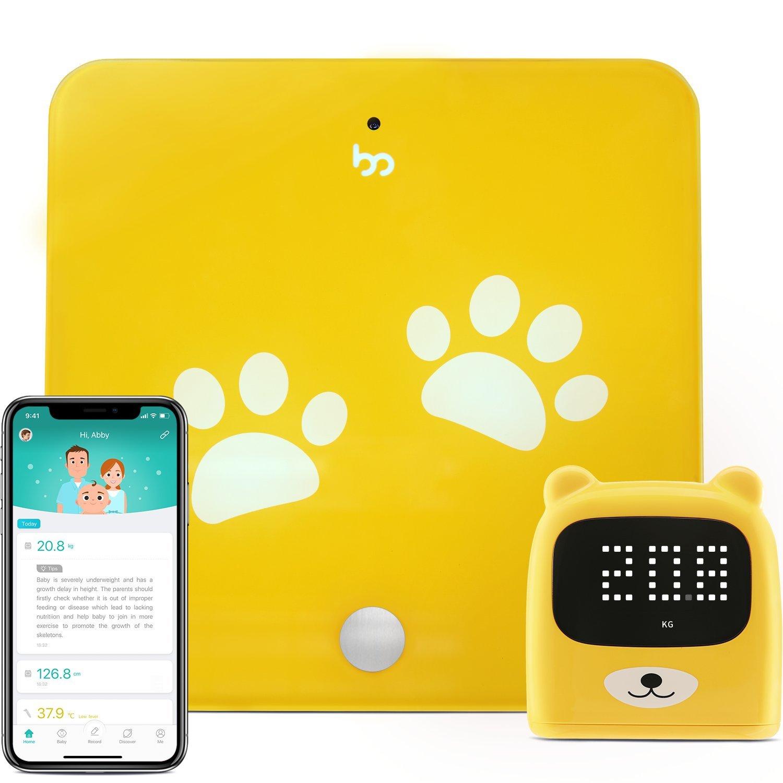 Gewicht und Gr/ö/ße des Kindes intelligent zu verfolgen Growp Smart Bluetooth Waage f/ür Kinder Digitale Personenwaage und Lineal mit gratis App iOS/&Android
