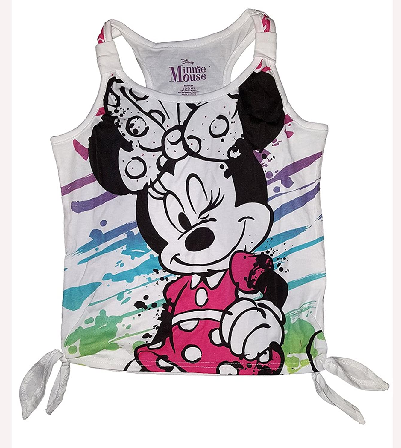 Disney Girls Minnie Mouse Side Wink Double Tie Fashion Tank Top - White