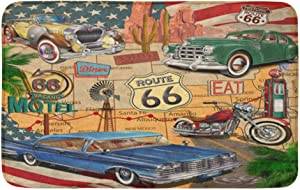 "Adowyee 20""x30"" Bath Mat American Vintage Route 66 Diner Arizona Map Motorcycle 1950S Cozy Bathroom Decor Bath Rug with Non Slip Backing"