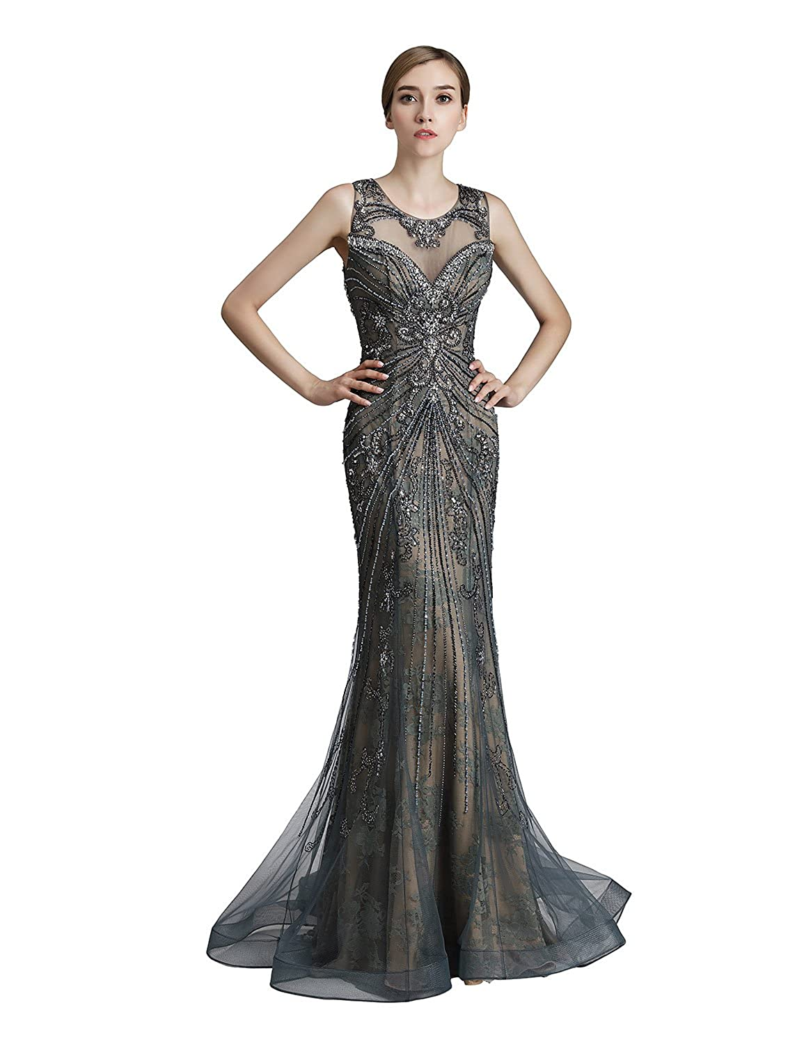 429steel Sarahbridal Womens Lace Prom Dresses Formal Evening Gown with Half Sleeve SD328