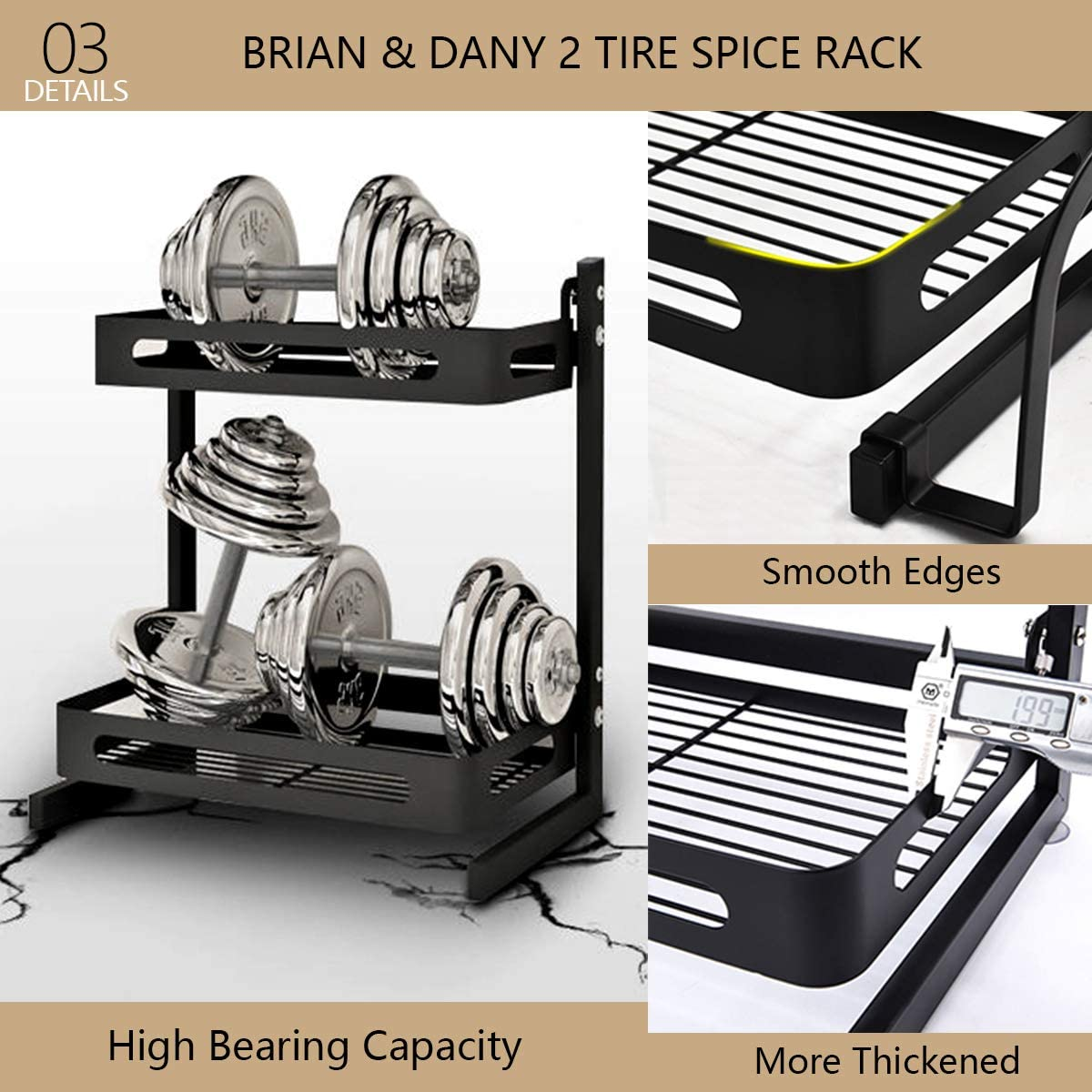 Negro BRIAN /& DANY Organizador de Especias de 2 Estantes Estanter/ía Soporte para Especias de Acero Inoxidable con Espacio para Cuberter/ía y Tabla de Cortar