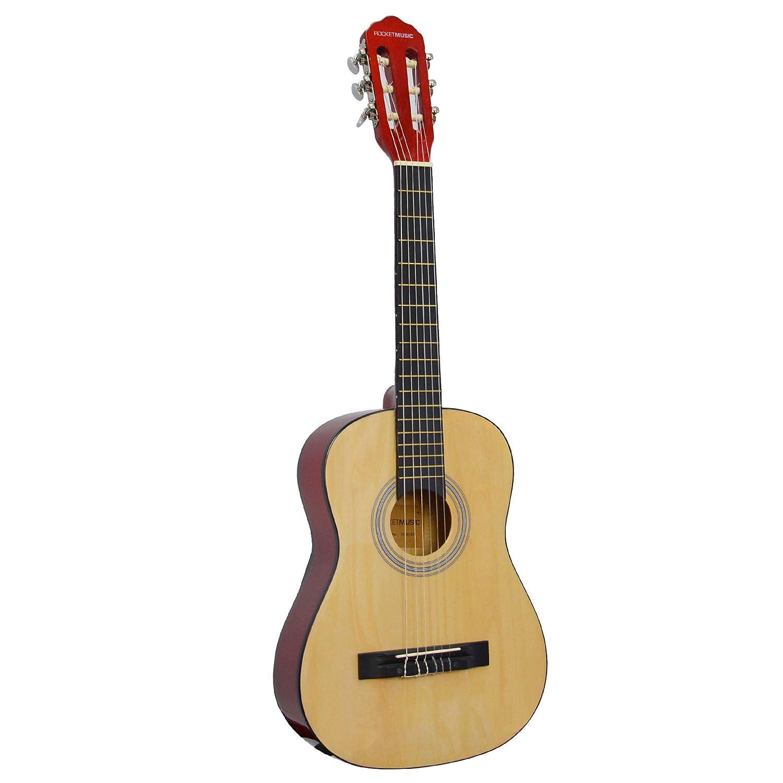Rocket CG14N - Guitarra clásica de 1/4, color madera natural