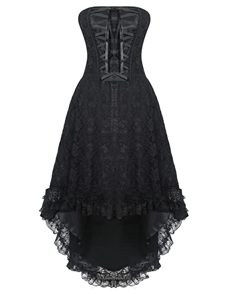 6914b345c9d Burvogue Women s Gothic Lace Steampunk Corset Dress Retro Vintage Costume   Amazon.co.uk  Clothing
