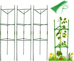 Zwish 3 Pack 47.2 Inches Garden Plant Support Stakes with 15 Cable Ties for Climbing Plants Vegetables Flowers Fruits Vine Tomato Cucumbers Trellis