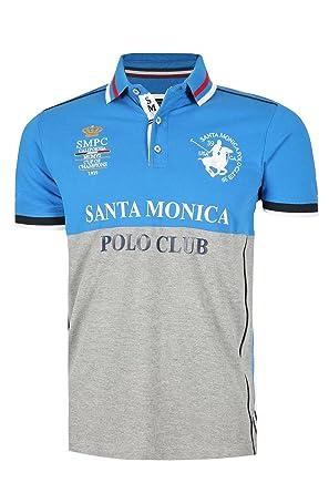 f5f45053 Mens Santa Monica Collard Short Sleeves Stripes Side Cuts Button Polo T  Shirt: Amazon.co.uk: Clothing