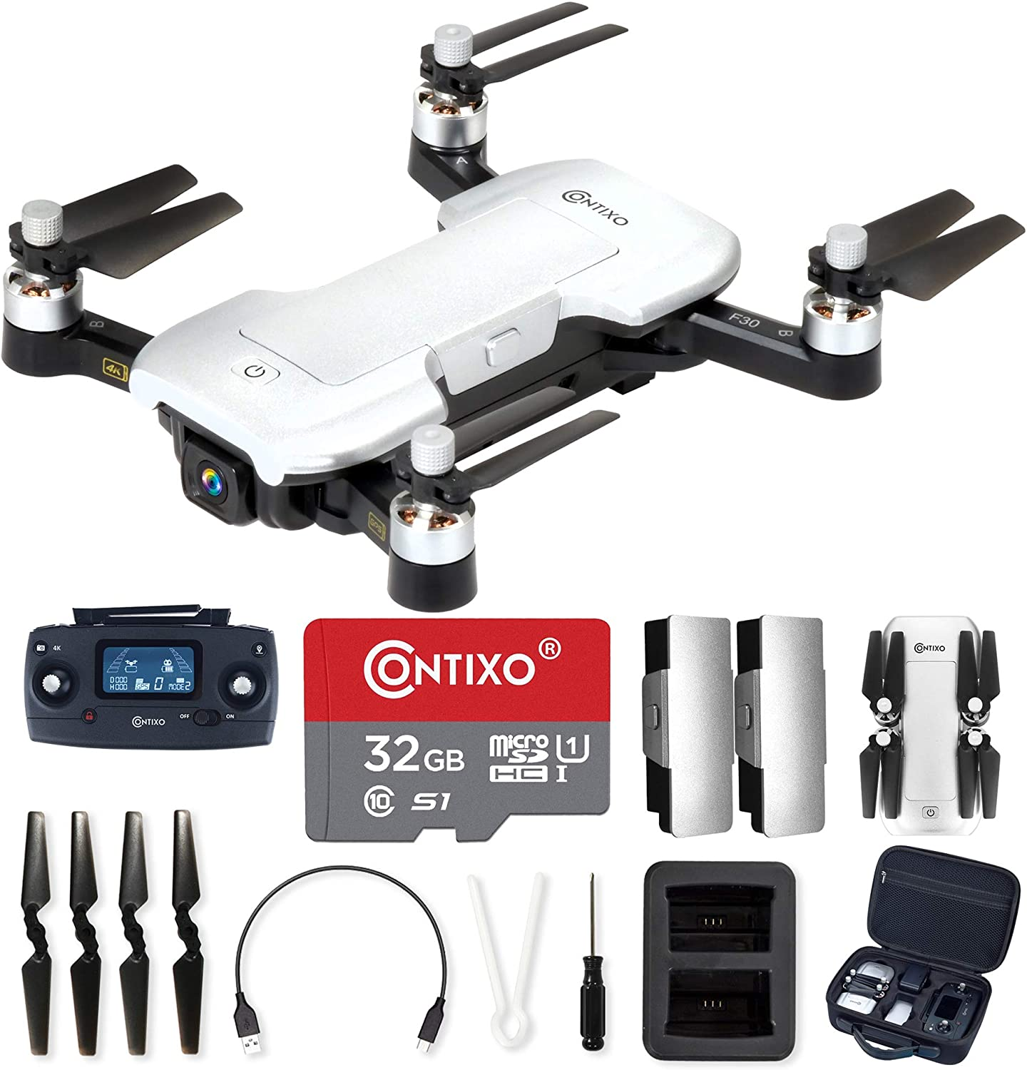Contixo F30 Drone for Kids & Adults WiFi 4K UHD Camera and GPS, FPV Quadcopter for Beginners, Foldable Mini Drone, Brushless Motor, Follow Me, Two Batteries and Carrying Case Included