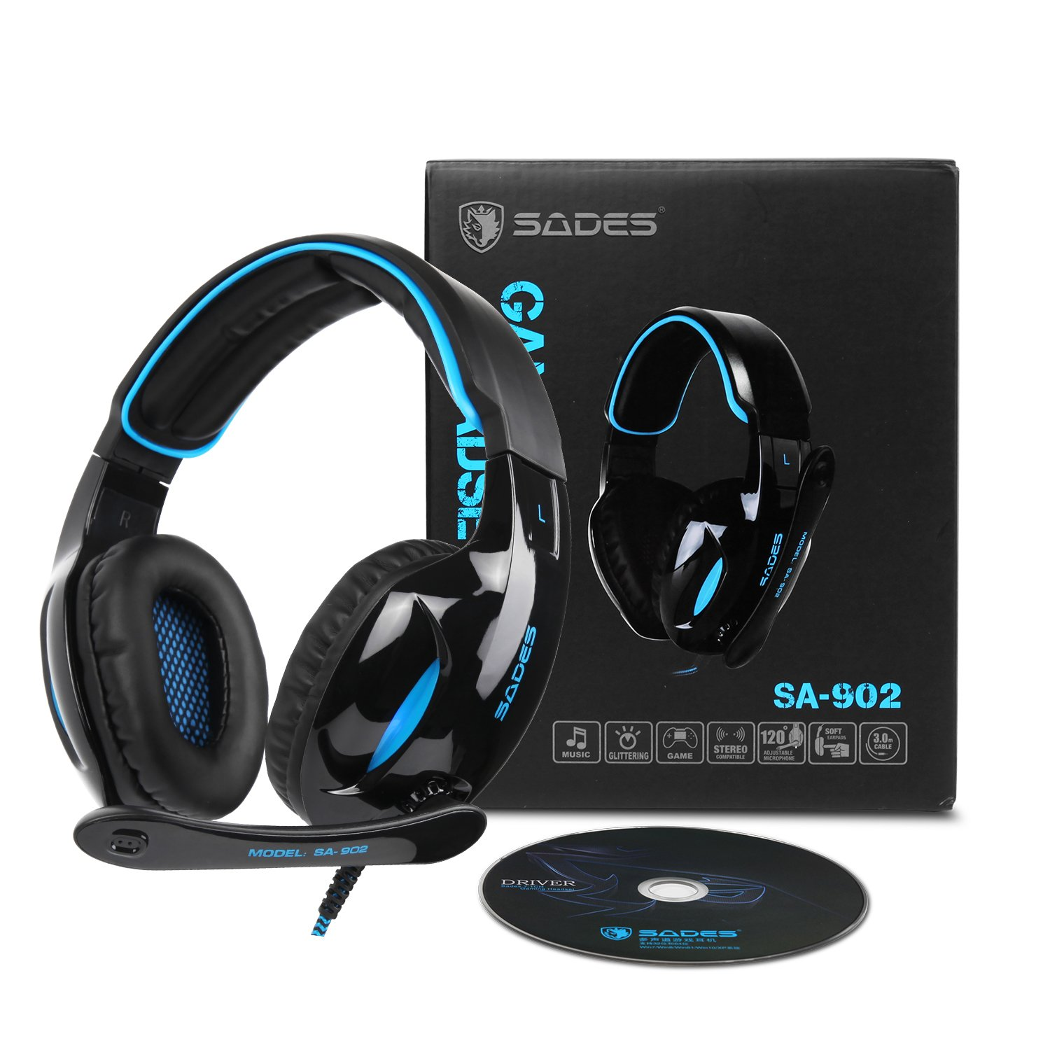 SADES SA902 Gaming Headset Headphone Stereo 7 1 Channel USB wired with Mic  Volume Control LED Light