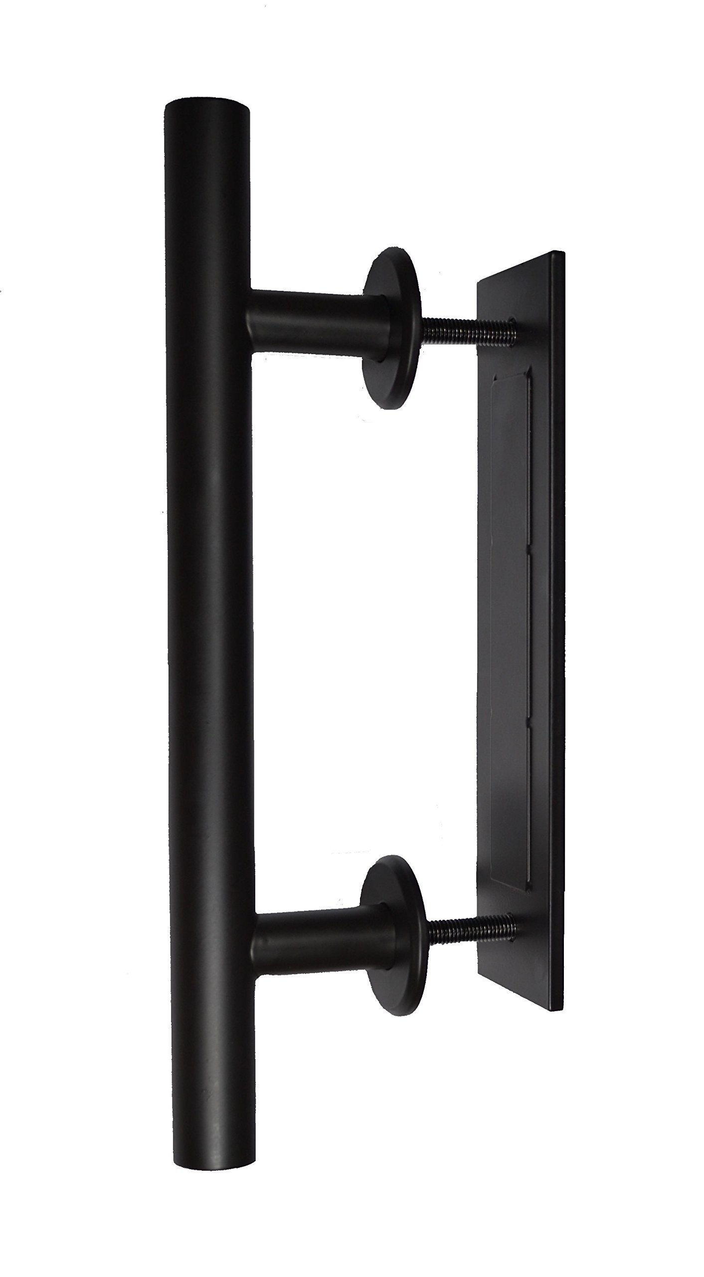 """AequHome 12"""" Sliding Barn Door Handle, Durable Steel Construction, Matte Black Finish, Suitable for Door Thickness 1 2/5"""" to 2 1/3"""", Includes Installation Bolts and Wrench"""